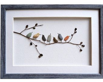 Pebble Art Love Birds, Romantic gift for couple, 3D Art, New home housewarming gift, Beach Stone Artwork, Unique Home Decor, Framed Wall Art