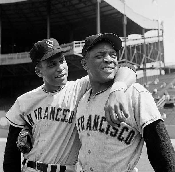 Orlando Cepeda and Willie Mays, ca. 1959.