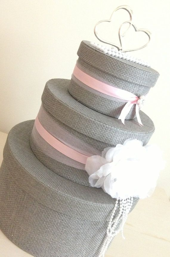 3-Tier Grey Burlap  Wedding Card /Keepsake Box with Pink and White ....Large White Flowers with Faux White Pearls