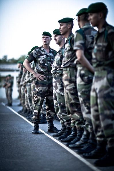 Photographic Essay on life in the French Foreign Legion in Djibouti the image shows a group of legionnaire standing at rest before reviewing the...