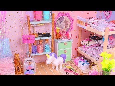 6 DIY Miniature Dollhouse Rooms: Bathroom, Unicorn, Nursery, etc. - YouTube