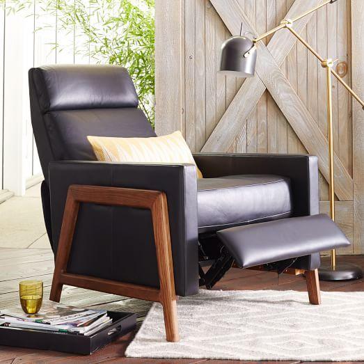 Spencer Wood Framed Leather Recliner | West Elm