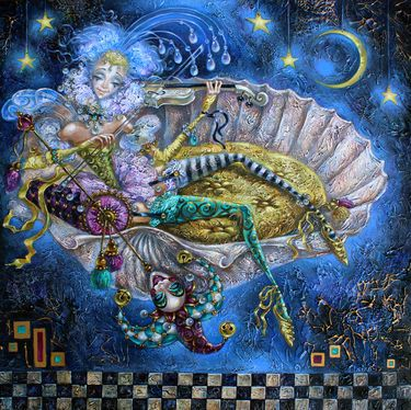 """Artist Elvira Baranova; Painting, """"Moonlight Melody"""""""