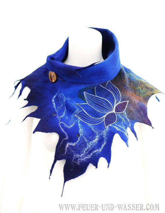 Nuno fieltro bufandas - bufanda de fieltro - fieltro chimenea - noche loto - 19 micras Merino