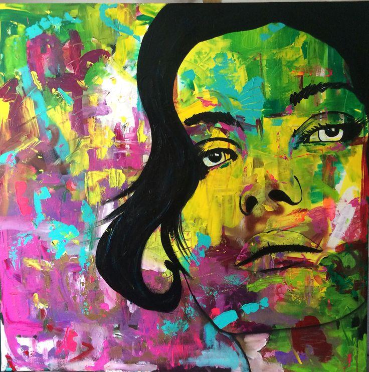 Sanne, acrylic on canvas, 100x100 cm, by Ronald Hofman