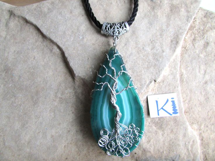Green Agate Slice Tree of Life Pendant by KiCrystalCreations on Etsy