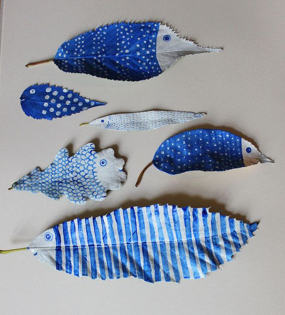 DIY ::::  It's amazing what you can create if you add a little paint to some backyard leaves. Photo and leaves by Hazel Terry.
