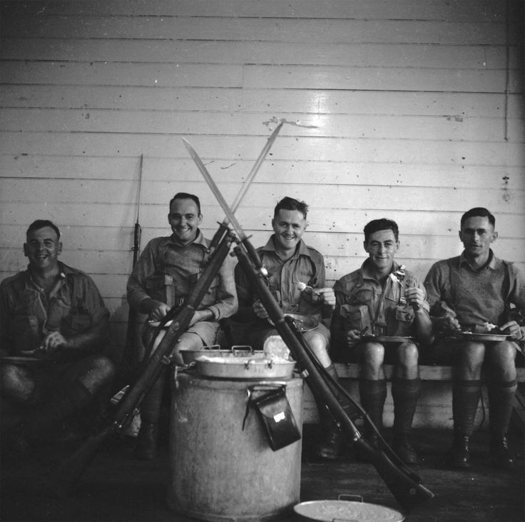 Men of the 8th Infantry Brigade, Fiji, circa WWII. From the collection of the air Force Museum of New Zealand.