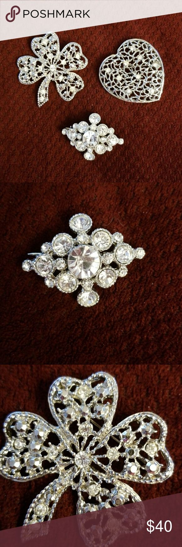 Bling  broochez😉💎 Set of 3 silver plated Crystal encrusted pins circa 1960s. Excellent condition !  Worn all together  for glam in the am or pm! Dresses