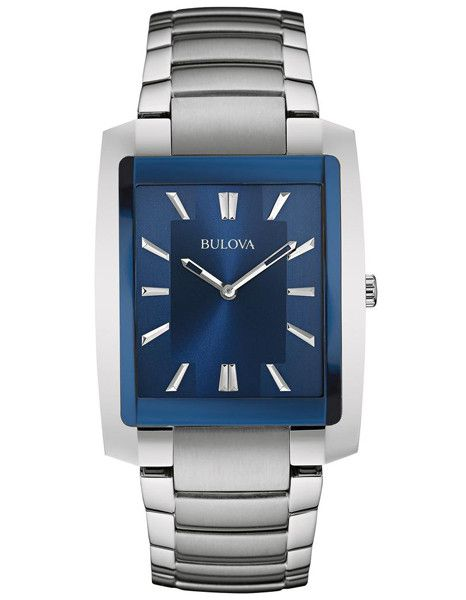 Bulova Mens Rectangular Case Dress Watch - Blue Dial - Steel - Bracelet