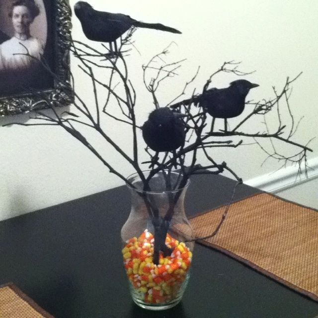 halloween wedding centerpieces my halloween centerpiece spray paint tree branches stick em in - Halloween Centerpieces Wedding
