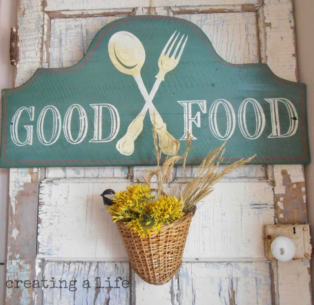 Creating A Life Simple Autumn Changes Dining Room Good Food Sign Basket Of Flowers Old Door
