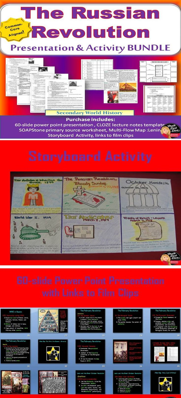 Russian Revolution Lecture and Storyboard Activity (World History)  This power point presentation reviews the major events of the Russian Revolution of 1917. Students will take CLOZE notes on the left side and analyze photographs on the right on the corresponding lecture notes. Students will analyze primary sources about Lenin's New Economic Policy. Pin it now!