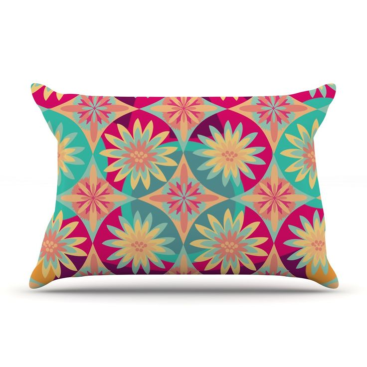 """Nika Martinez """"Happy Flowers"""" Floral Abstract Pillow Case from KESS InHouse #kess #inhouse #happy #flowers #bold #pattern #colorful #modern #midcentury #trend #pillow #kess #inhouse #nika #martinez #christmas"""