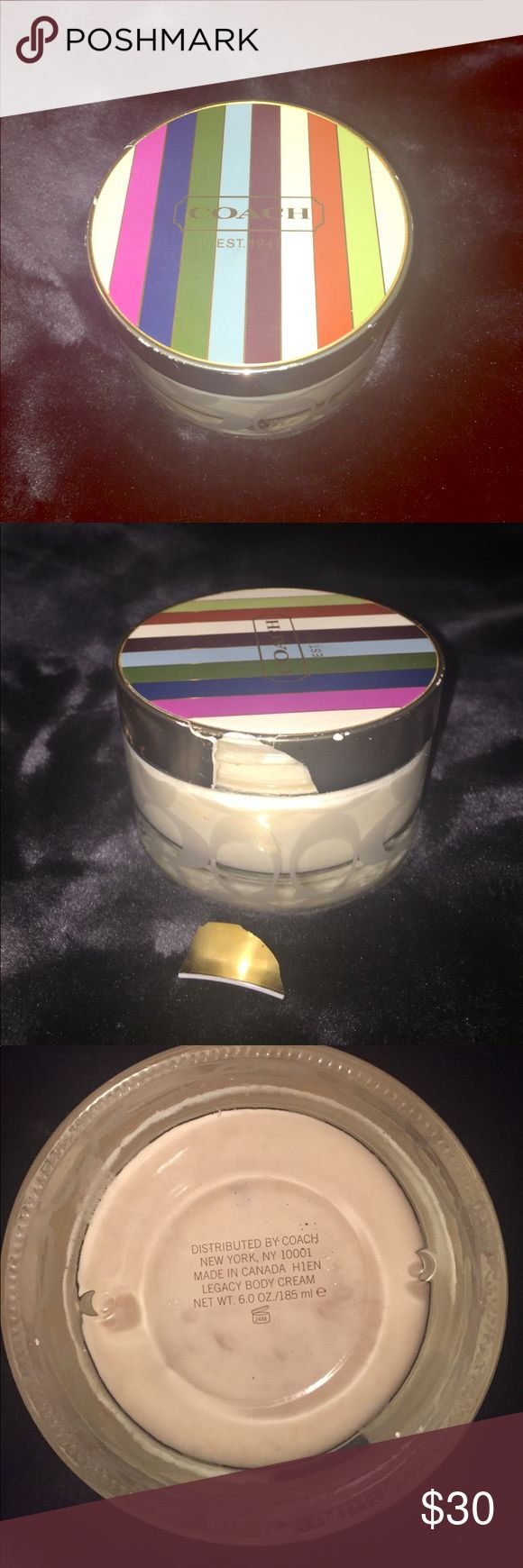 Coach Legacy 6oz jar of lotion huge new jar of legacy lotion, the jar did fall and the lid cracked, I am open to offers Coach Makeup