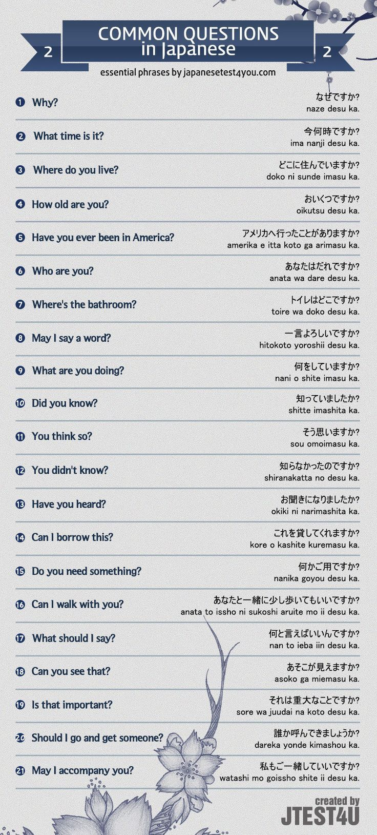 Infographic: common questions in Japanese part 2. http://japanesetest4you.com/infographic-common-questions-in-japanese-part-2/