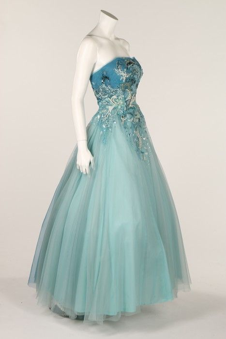 Prom style dress, 1950s. graduating blue chiffon with beaded, appliqué and sequinned decoration