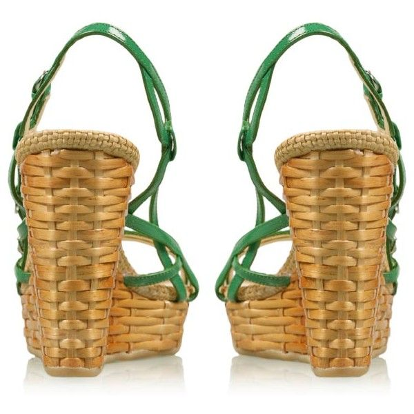 Green Raffia Wedges by D&G Dolce&Gabbana from my-wardrobe.com ($230) ❤ liked on Polyvore featuring shoes, sandals, wedges shoes, wedge sandals, green wedge shoes, wedge heel sandals and raffia shoes