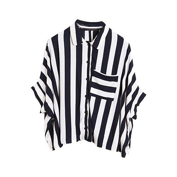 Vertical Stripe Cropped Shirt with Batwing sleeves found on Polyvore