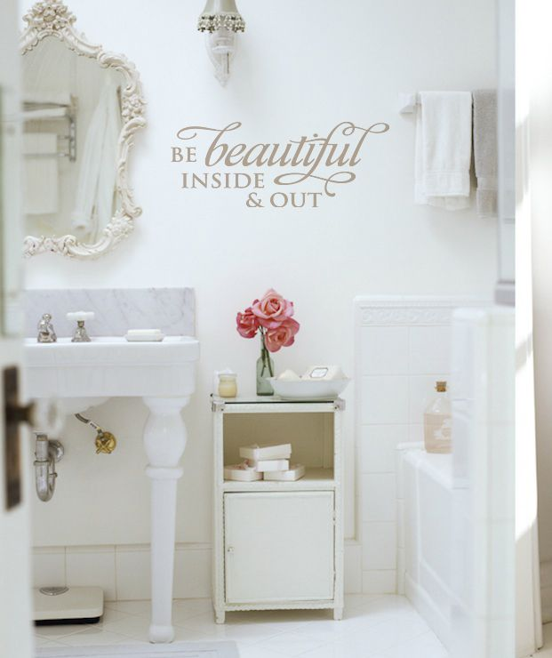 """""""Be Beautiful Inside  Out"""" vinyl lettering wall decal bathroom decor. See more decals at www.lacybella.com"""