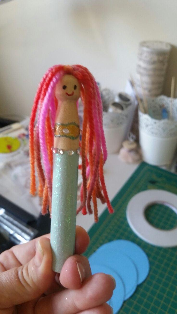 Mermaid peg dolls