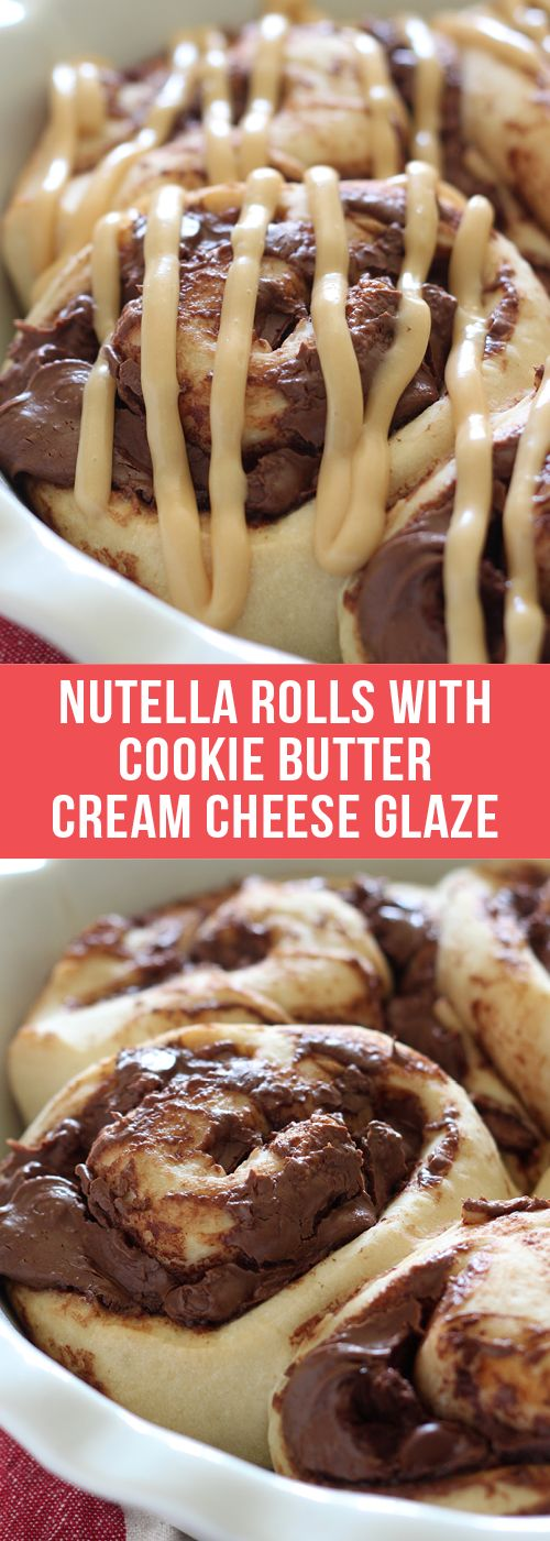Nutella Rolls with Cookie Butter Cream Cheese Glaze are 1 hour sweet rolls stuffed with Nutella and chocolate and topped with a cookie butter glaze. Outrageously good!  #nutella #cookiebutter #breakfast #brunch #recipe #breakfastrecipe #dessert #food