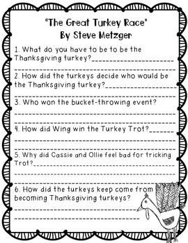 Comprehension questions for 20 Thanksgiving/Pilgrim Books Titles include: ��The Pilgrim��s First Thanksgiving�� By Ann McGovern  ��Gracias The Thanksgiving Turkey�� By Joy Cowley ��Thanksgiving Day�� By Gail Gibbons ����if you sailed on the Mayflower�� By Ann McGov