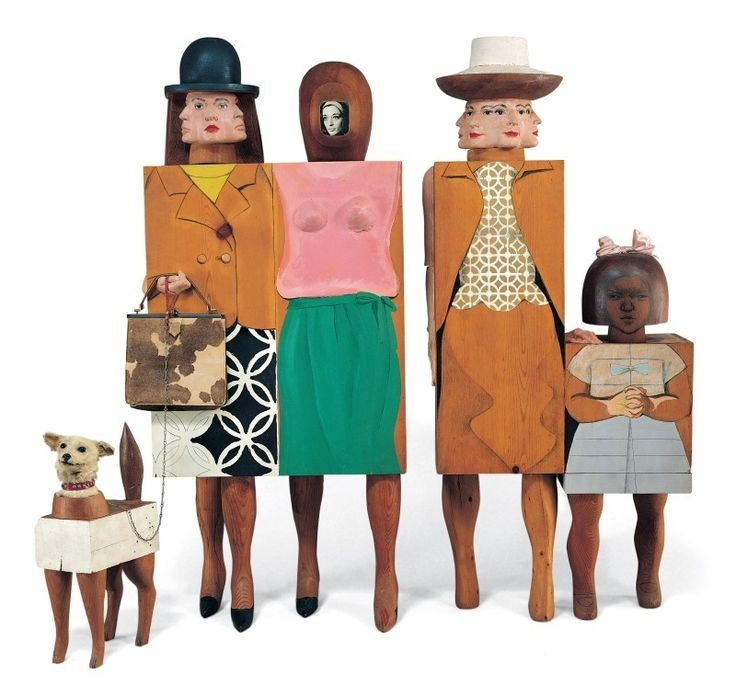 Women and Dog, 1964, United States, woodwork and assemblage, by Marisol Escobar.