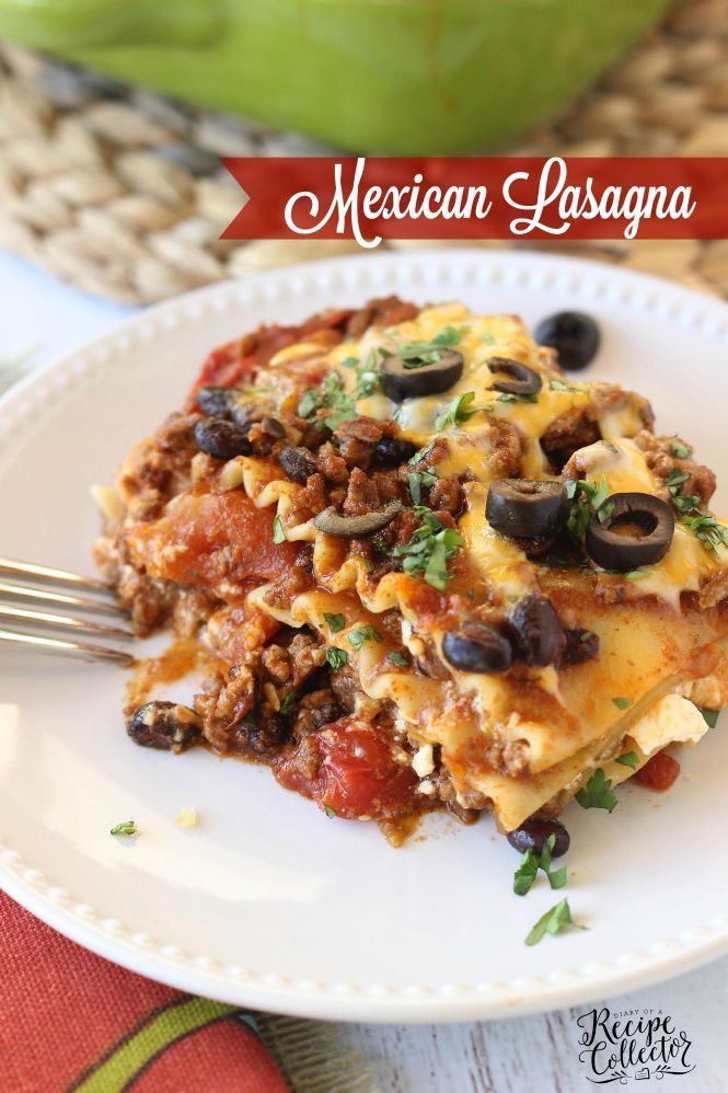 Mexican Lasagna - A hearty casserole filled with ground sirloin, three cheeses, lasagna noodles, tomatoes, and all those wonderful Mexican flavors.