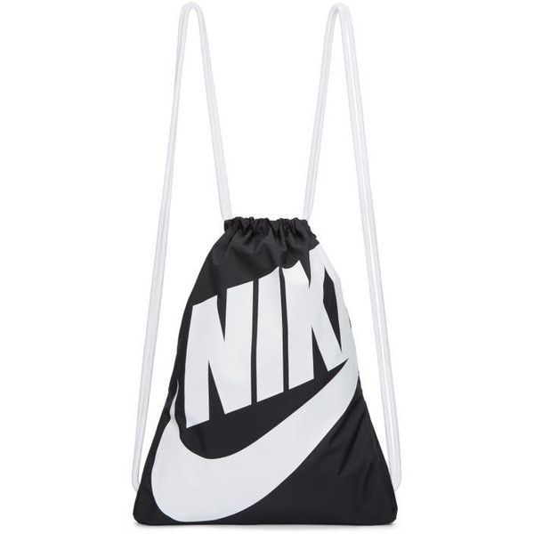 Nike Black and White Heritage Logo Gym Backpack ($16) ❤ liked on Polyvore featuring bags, backpacks, black, white and black backpacks, day pack backpack, nylon bag, nike knapsack and nike rucksack