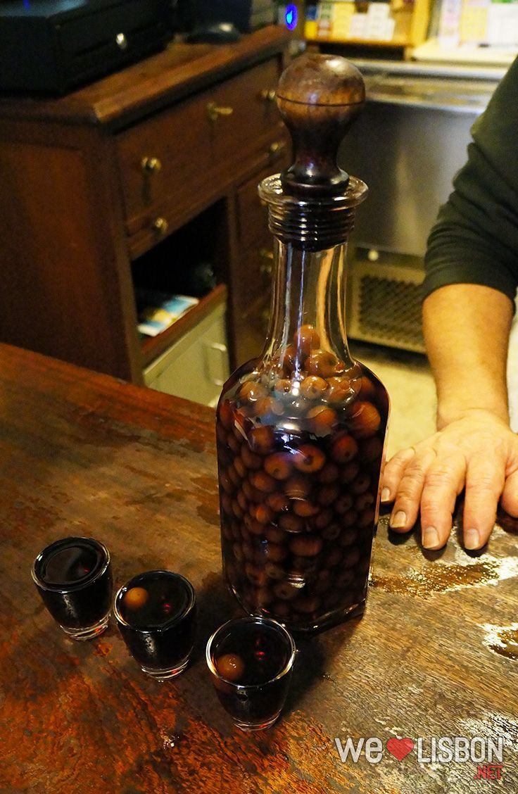Ginginha, a Lisbon's typical liqueur, is served in small glasses and you can have it with or without the cherry.
