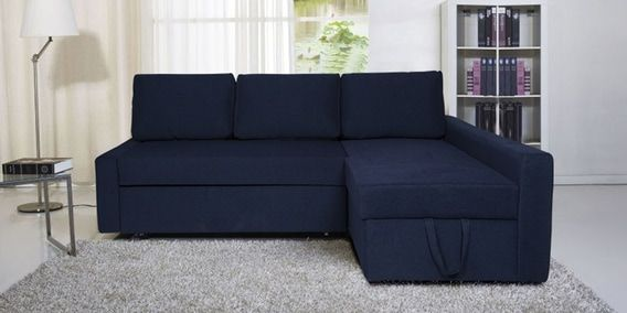 Flumph LHS L Shape Sofa Cum Bed with Storage in Sea Blue Color by ...