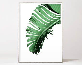 Hoja de plátano, impresión de hoja de plátano, arte de hoja de plátano, cartel de hoja de plátano, hojas de plátano, arte de hoja de Palma, hoja impresiones, cartel de Palma, Palma impresión