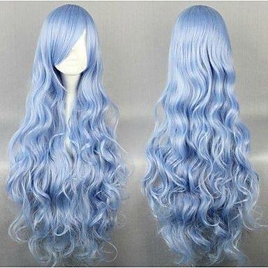 1643 Светло-Голубой Сексуальные Волнистые Длинные Синтетические Волосы Парик Партии Cosplay для Ен Леди 80 см