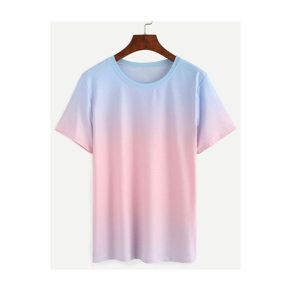SheIn(sheinside) Blue Pink Ombre T-shirt ($13) ❤ liked on Polyvore featuring tops, t-shirts, multi, summer t shirts, sleeve t shirt, blue top, short sleeve tee and color block t shirt