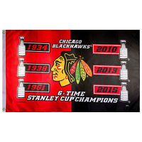Chicago Blackhawks 6-Time Stanley Cup Champions Flag 3' x 5' NHL Official Banner