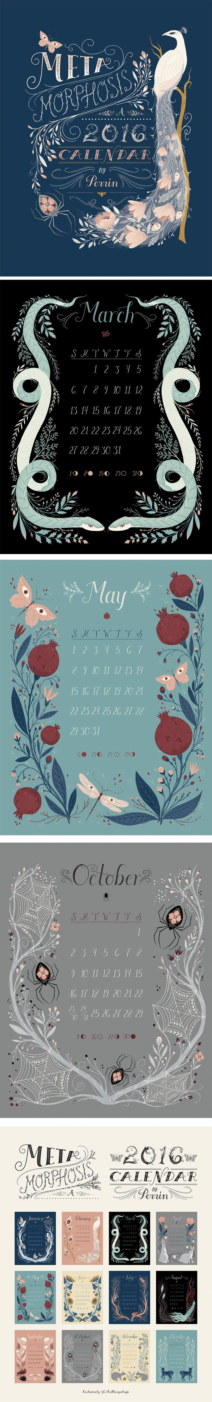Very delighted to share the 2016 calendar I designed, hand lettered, and illustrated for Anthropologie! The theme and title is Metamorphosis, and the calendar features unique morphing flora and fauna to take you through the seasons. Digital illustration ©Perrin 2014 Check it out here: http://www.anthropologie.com/anthro/product/36146199.jsp#/