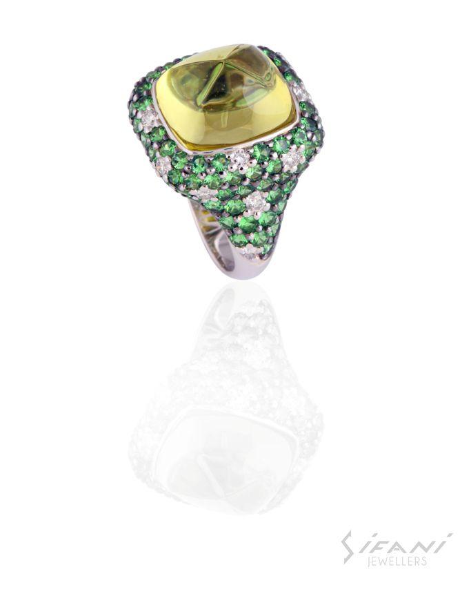 Green tsavorites and diamonds #ring