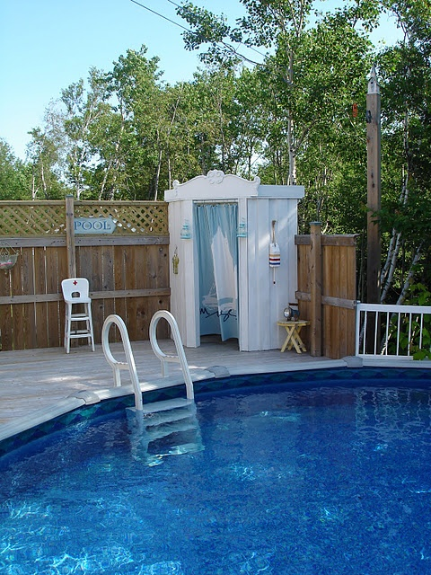Love the changing room on the pool deck pool backyard for Above ground pool decks attached to house