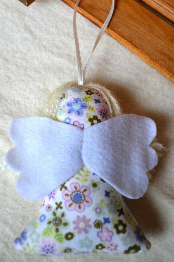 Handmade Fabric Lavender Angel Decoration Lovely by SenArt1