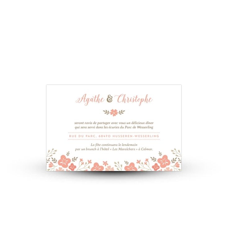 Conviez vos proches à votre repas de mariage en ajoutant un carton spécial à votre invitation. Illustré d'une couronne de fleurs, ce modèle sera parfait !