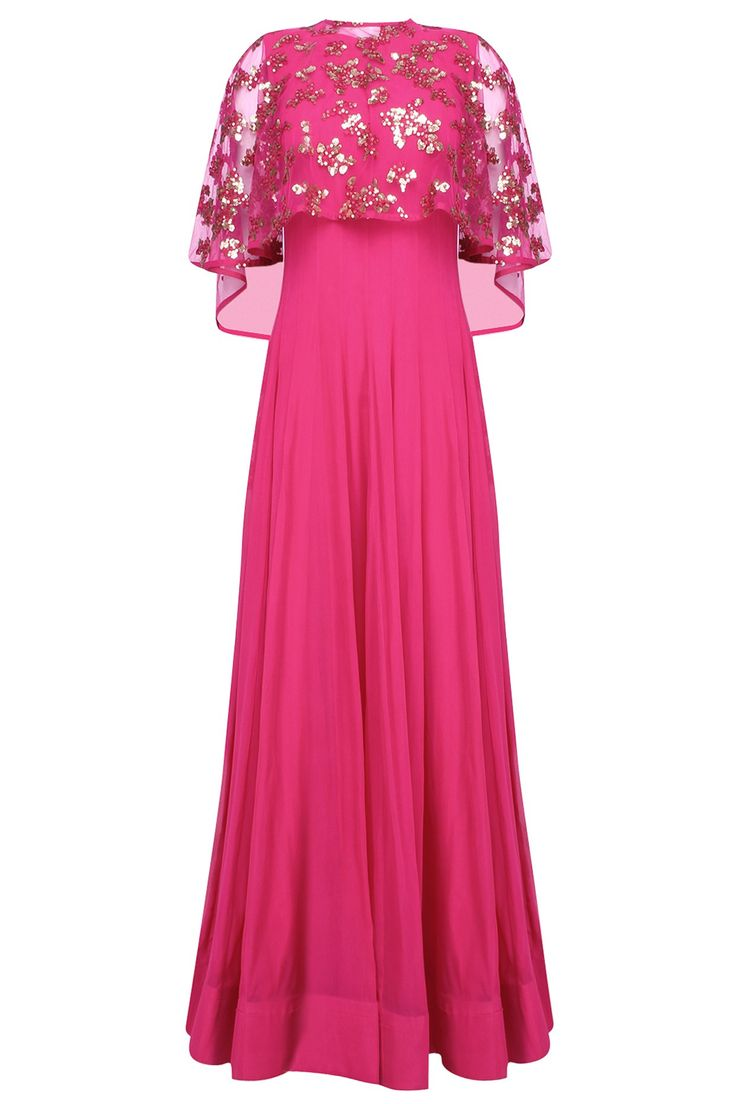 SMRITI JHUNJHUNWALA | Hot pink anarkali set with hand embroidered asymmetric cape available only at Pernia's Pop Up Shop.