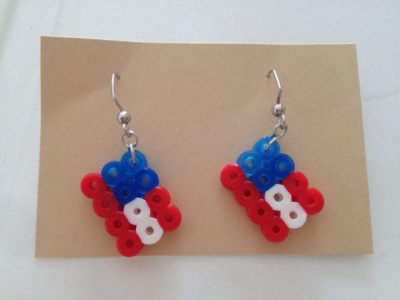 American Flag Perler Bead Earrings By Scrappitycrafts On