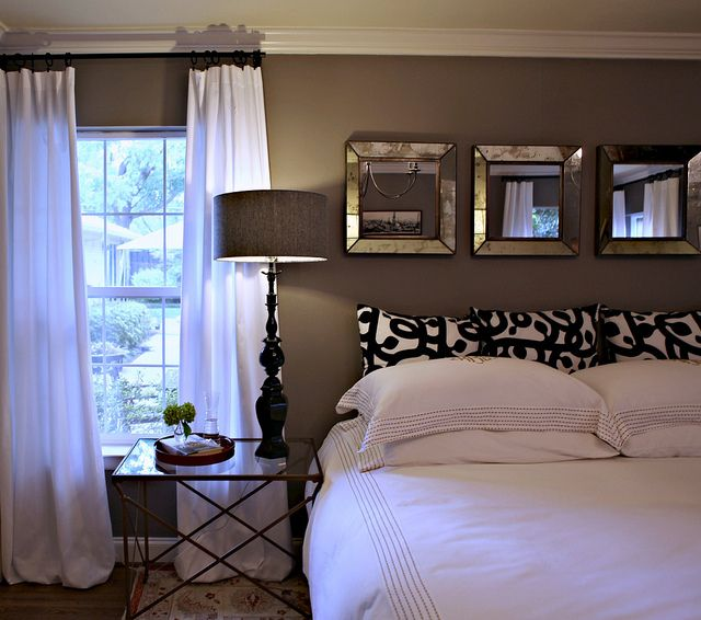 Paint colors master bedroom - the black and white euro shams are from Ikea - the blog says paint color is Restoration Hardware's Slate but for those who don't have a Restoration Hardware nearby, Sherwin-Williams Dovetail 7018 and Benjamin Moore Eagle Rock 1469 are pretty comparable substitutes (knightmovesblog.b...)