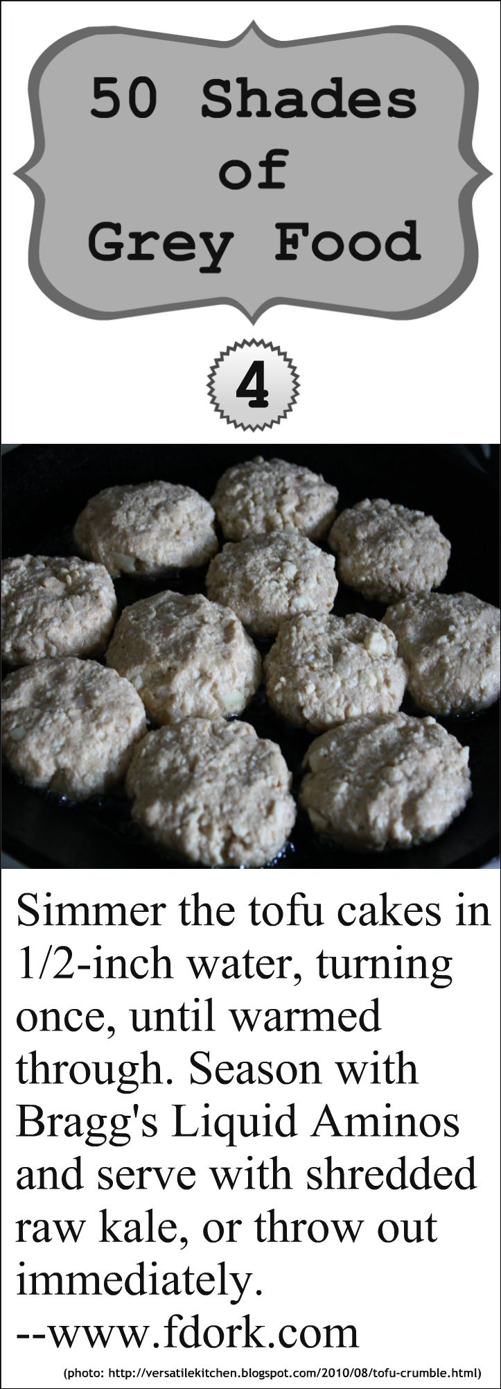 50 Shades of Grey Food: Hilarious Grey Food | Post #4: Grey Tofu Cakes #humor #satire #food #foodhumor #foodsatire