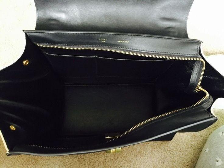 Authentic CELINE Trapeze Bag Handbag Large Tri Color Cobalt Blue ...