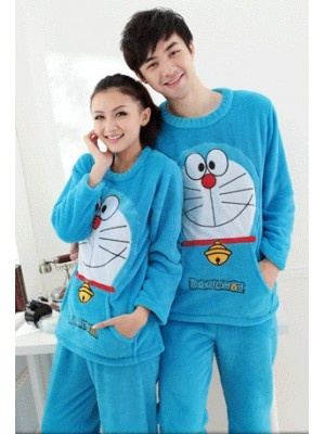 His & Hers Doraemon Fleece Pajamas Set. I probably gotta hypnotize the husband to get into this one. Hmm......