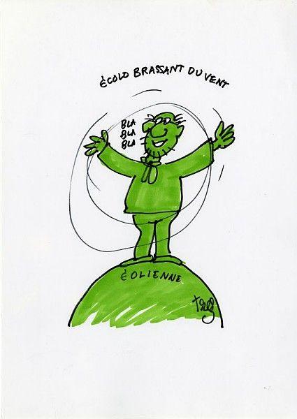 Alain Trez, Écolo brassant du vent, aquarelle, 2000 / ©Musée du Vivant - AgroParistech