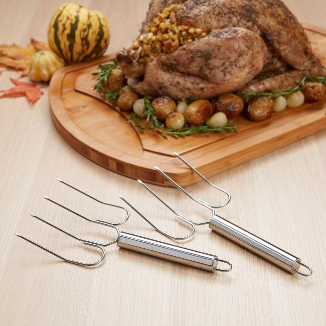Kitchen Tools Turkey Lifter-Meat Fork - Set of 2 (Stainless Steel)