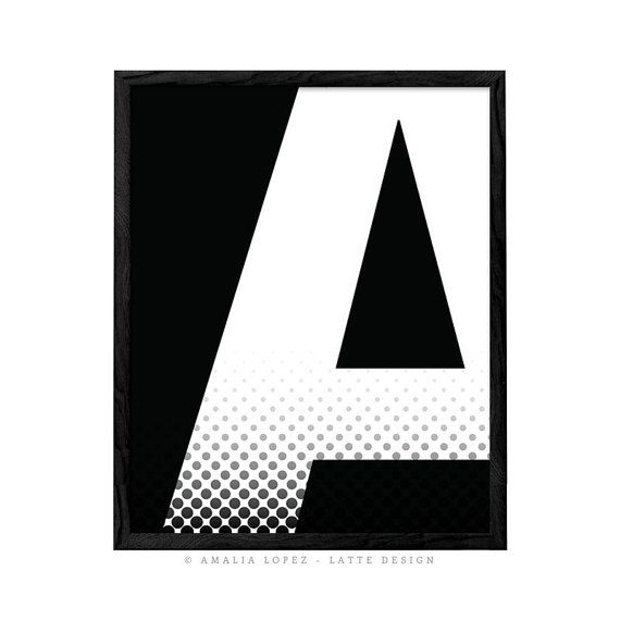 Letter A print typography print Letter A poster by LatteDesign